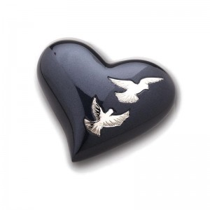 Keepsake Heart (Anthracite with Birds Design)