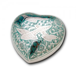 Keepsake Heart (Silver with Green Detailing and Flying Birds Design)