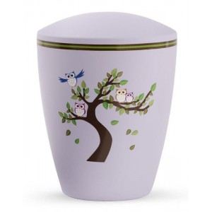 Biodegradable Cremation Ashes Urn (Infant / Child / Boy / Girl) – Lilac with Illustrated Owls