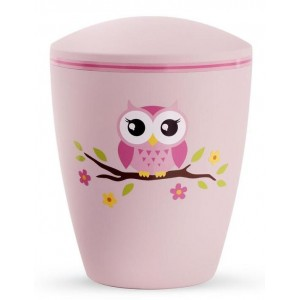 Biodegradable Cremation Ashes Urn (Infant / Child / Girl) – Pink with Illustrated Owl