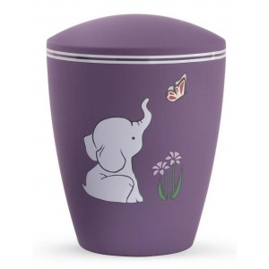 Biodegradable Cremation Ashes Urn (Infant / Child / Boy / Girl) – Purple with Illustrated Elephant