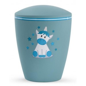 Biodegradable Cremation Ashes Urn (Infant / Child / Boy / Girl) – Turquoise with Illustrated Unicorn