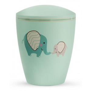 Biodegradable Cremation Ashes Urn (Infant / Child / Boy / Girl) – Mint Green with Illustrated Elephants