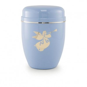 Infant / Child / Boy / Girl Cremation Ashes Funeral Urn (Pastel Blue with Angel Motif)