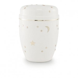 Infant / Child / Boy / Girl Cremation Ashes Urn (White with Gold Moon & Stars Design)