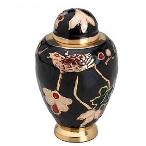 Brass Keepsake Small Urn (Brass with Black, Red and White Detail)