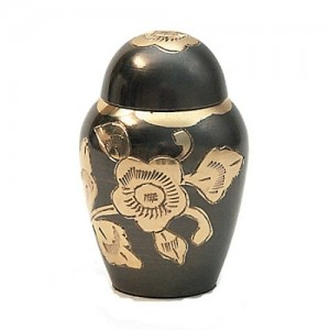 Brass Keepsake Small Urn (Black with Gold Floral Detail)