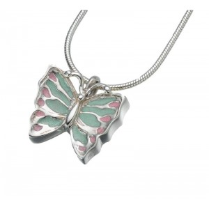 Sterling Silver Butterfly Pendant With Contrasting Chain - Cremation Ash Keepsake Jewellery
