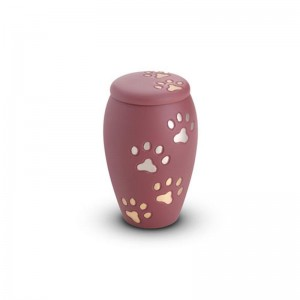 Brass - Pet Keepsake Urn (Pink with Gold and Silver Pawprints)