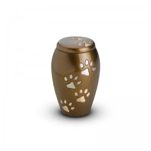 Brass - Pet Keepsake Urn (Brown with Gold and Silver Pawprints)