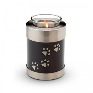 Candle Holder Keepsake (Black with Silver Pawprints)