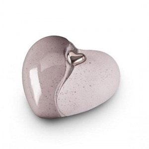 Small Ceramic Heart Shape Cremation Ashes Urn (Grey with Silver Heart Motif)