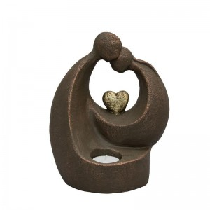 Ceramic Statue Urn - Golden Heart with Tealight Candle - Individually Handmade to Order