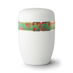 Steel Urn (White with Poppies Border)