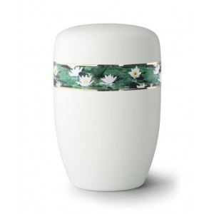 Steel Urn (White with Water Lily Border)