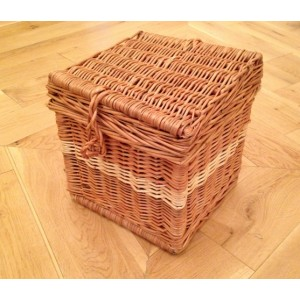 Autumn Gold Cream & Natural Wicker Willow (Cube Shape) Cremation Ashes Casket