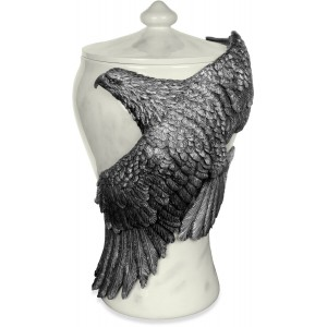 Pewter Soaring Free Eagle Creamtion Ashes Urn - Mother of Pearl Effect - 15 inch - Adult Sized