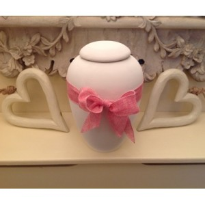 "Biodegradable Urn – ""ETERNAL BOW COLLECTION"" – ROSE PINK"
