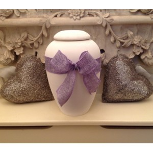 "Biodegradable Urn – ""ETERNAL BOW COLLECTION"" – LILAC PETAL"