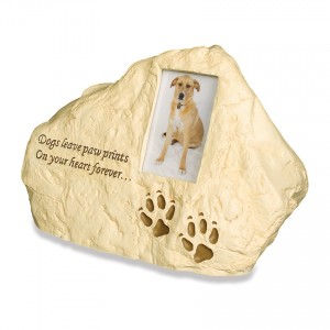 Weatherproof (Outdoor / Indoor Use) - Paw Prints Rock - Pet Cremation Ashes Urn
