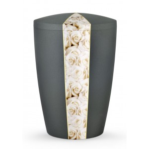 Floral Edition Biodegradable Cremation Ashes Funeral Urn – White Roses / Anthracite Surface
