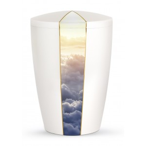 Heaven's Edition Biodegradable Cremation Ashes Funeral Urn – Clouds / Pearly Iridescent Surface
