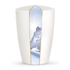 Heaven's Edition Biodegradable Cremation Ashes Funeral Urn – Peaks / Pearly Iridescent Surface