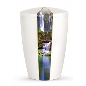 Nature Edition Biodegradable Cremation Ashes Funeral Urn – Mother of Pearl, Waterfall Motif