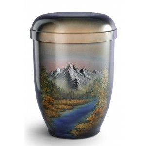 Hand Painted Biodegradable Cremation Ashes Urn – Mountain River
