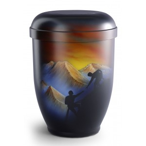 Hand Painted Biodegradable Cremation Ashes Urn – Mountain Climbing (Above & Beyond)