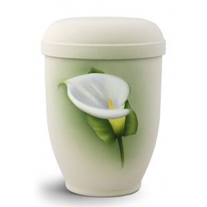 Hand Painted Biodegradable Cremation Ashes Urn – Calla Lily (Beautiful Flower of Grief)