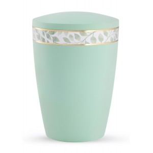 Pastel Edition Biodegradable Cremation Ashes Funeral Urn – Mint Green with Leaf Border