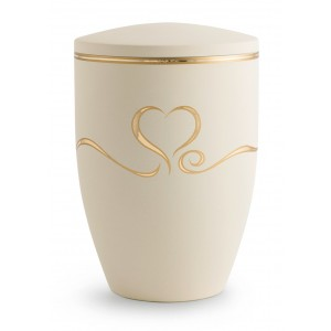 Melina Edition Steel Cremation Ashes Urn – Cream with Golden Heart