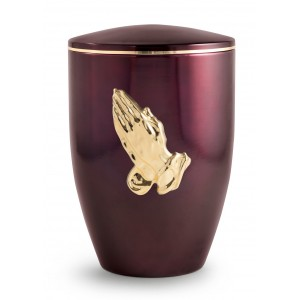 Melina Edition Steel Cremation Ashes Urn - Aubergine with Gold Praying Hands Motif