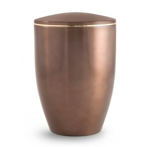 Melina Edition Steel Cremation Ashes Urn - Carmel with Gold Band