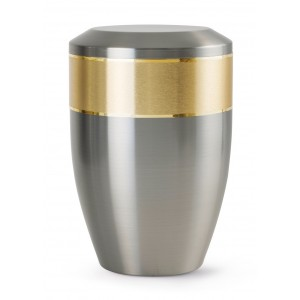 Aurum Edition Steel Cremation Ashes Urn – Brushed Steel with Gold Decorative Band