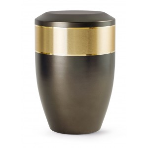 Aurum Edition Steel Cremation Ashes Urn – Chocolate with Gold Decorative Band