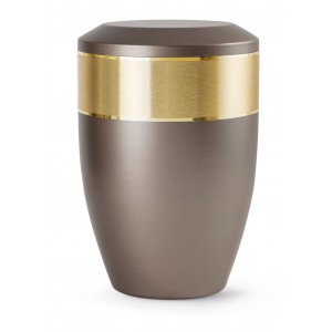 Aurum Edition Steel Cremation Ashes Urn – Graphite with Gold Decorative Band