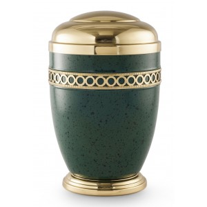Steel Urn (Circles of Life Design – Green)