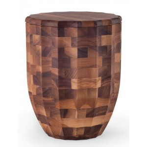 Fine Walnut Cremation Ashes Urn (Cross Glued, Oiled Finish, Column Design)